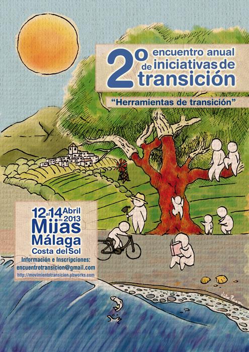 Cartel 2º Encuentro anual de Transición en Mijas 2013 - Transición Sostenible
